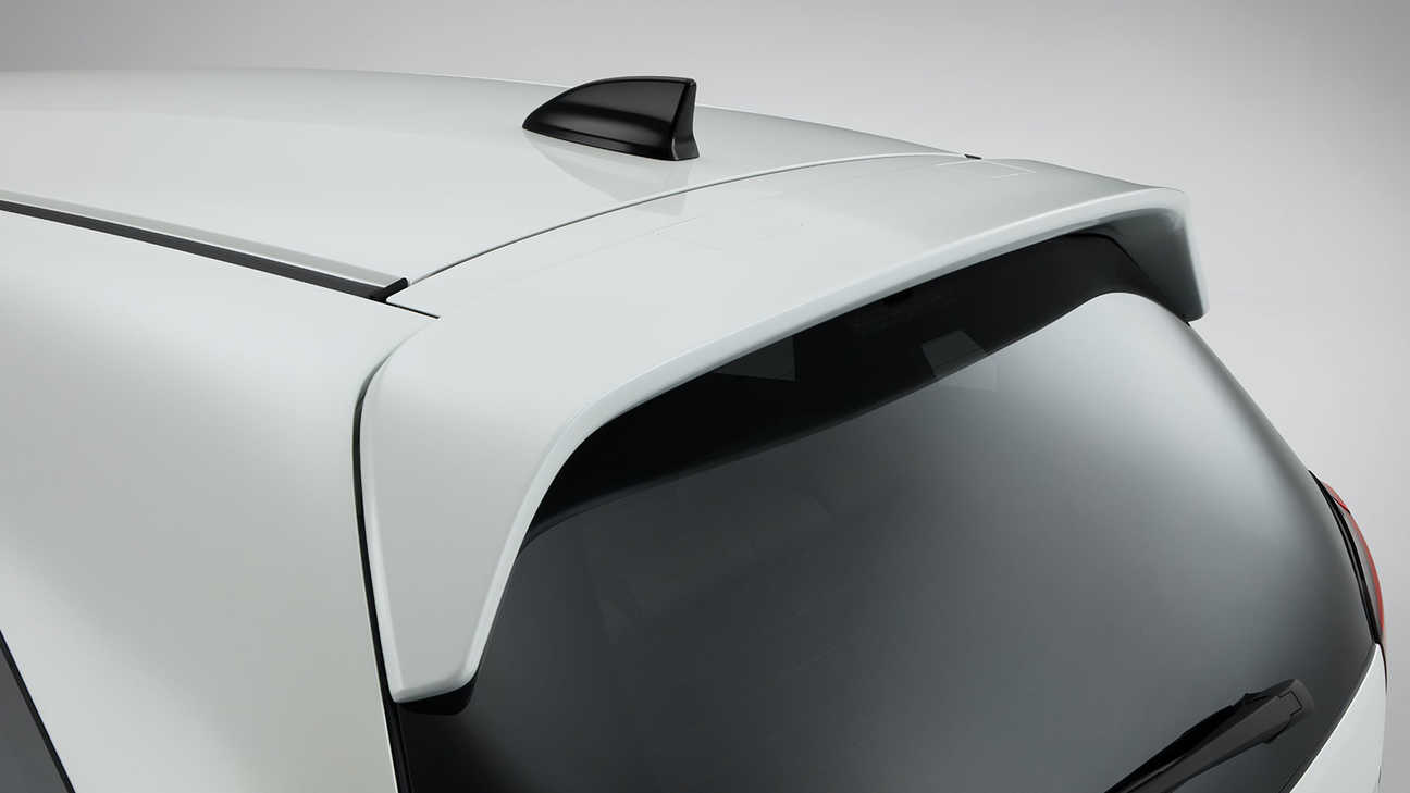 Close up of Honda Jazz Hybrid Tailgate Spoiler.
